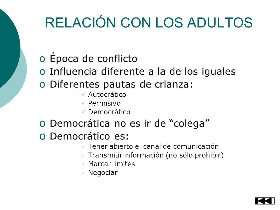 RELACIÓN CON LOS ADULTOS o Época de conflicto o Influencia diferente a la de los iguales o Diferentes pautas de crianza: Autocrático Permisivo Democrá
