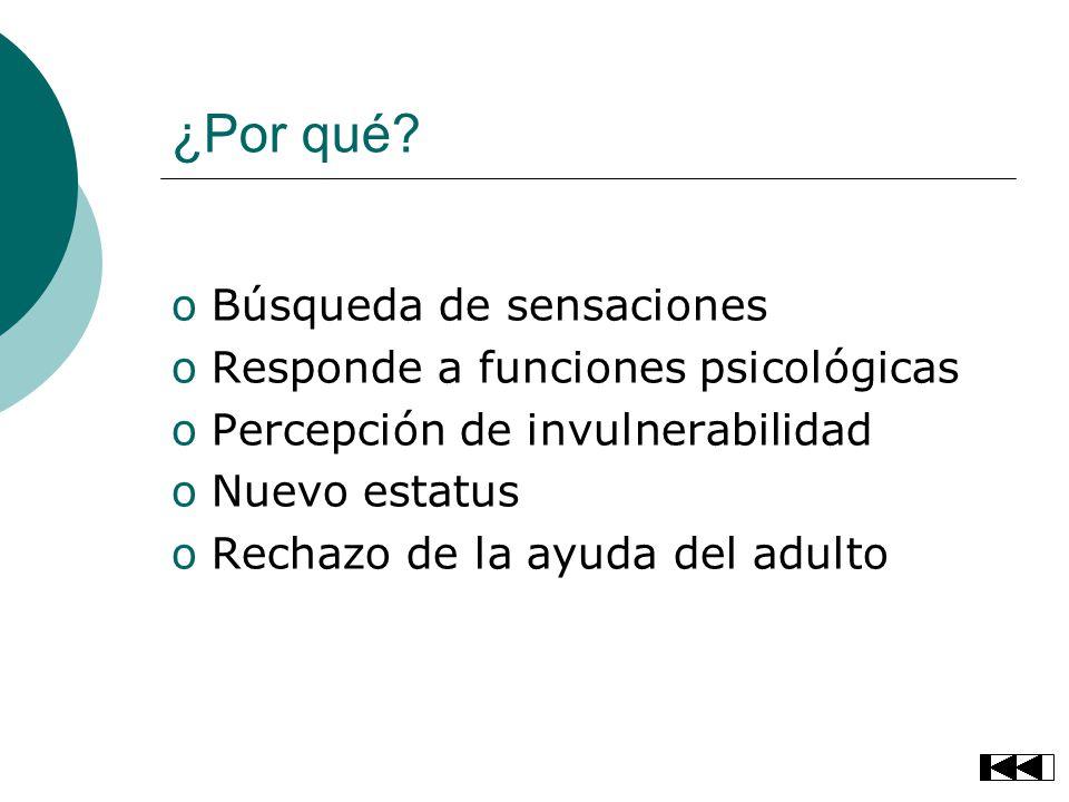 ¿Por qué? oBúsqueda de sensaciones oResponde a funciones psicológicas oPercepción de invulnerabilidad oNuevo estatus oRechazo de la ayuda del adulto