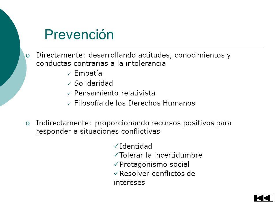 Prevención oDirectamente: desarrollando actitudes, conocimientos y conductas contrarias a la intolerancia Empatía Solidaridad Pensamiento relativista
