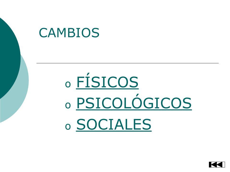 CAMBIOS o FÍSICOSFÍSICOS o PSICOLÓGICOSPSICOLÓGICOS o SOCIALESSOCIALES