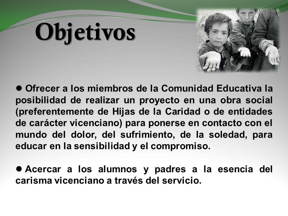 Objetivos Ofrecer a los miembros de la Comunidad Educativa la posibilidad de realizar un proyecto en una obra social (preferentemente de Hijas de la C