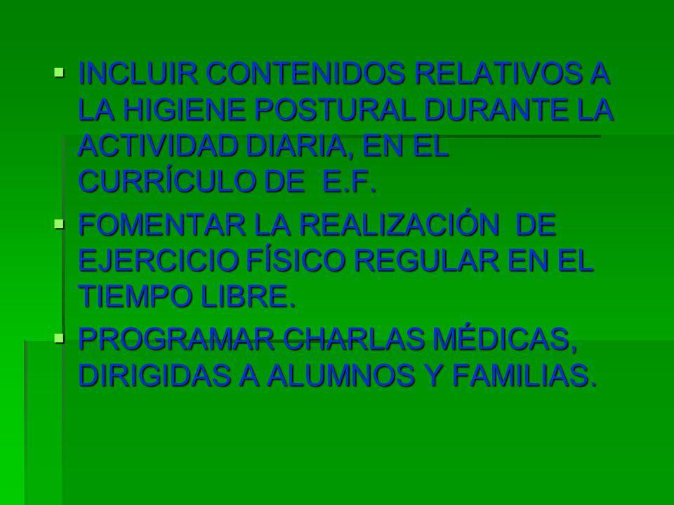 INCLUIR CONTENIDOS RELATIVOS A LA HIGIENE POSTURAL DURANTE LA ACTIVIDAD DIARIA, EN EL CURRÍCULO DE E.F. INCLUIR CONTENIDOS RELATIVOS A LA HIGIENE POST