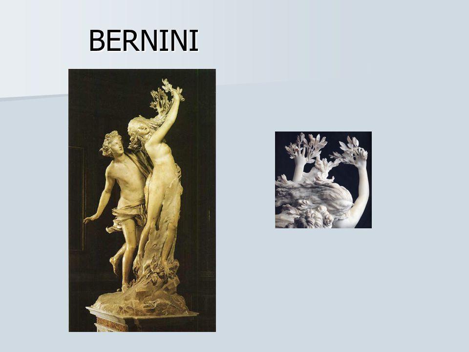 BERNINI: En Apolo y Dafne, Bernini pretendió captar un instante de tiempo, la escultura muestra el momento en que Apolo alcanza a Dafne, que comienza a transformarse en laurel.