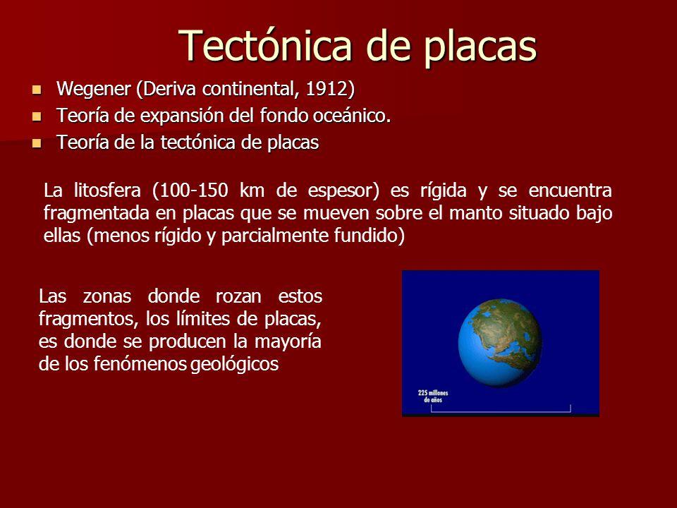 Tectónica de placas Wegener (Deriva continental, 1912) Wegener (Deriva continental, 1912) Teoría de expansión del fondo oceánico. Teoría de expansión