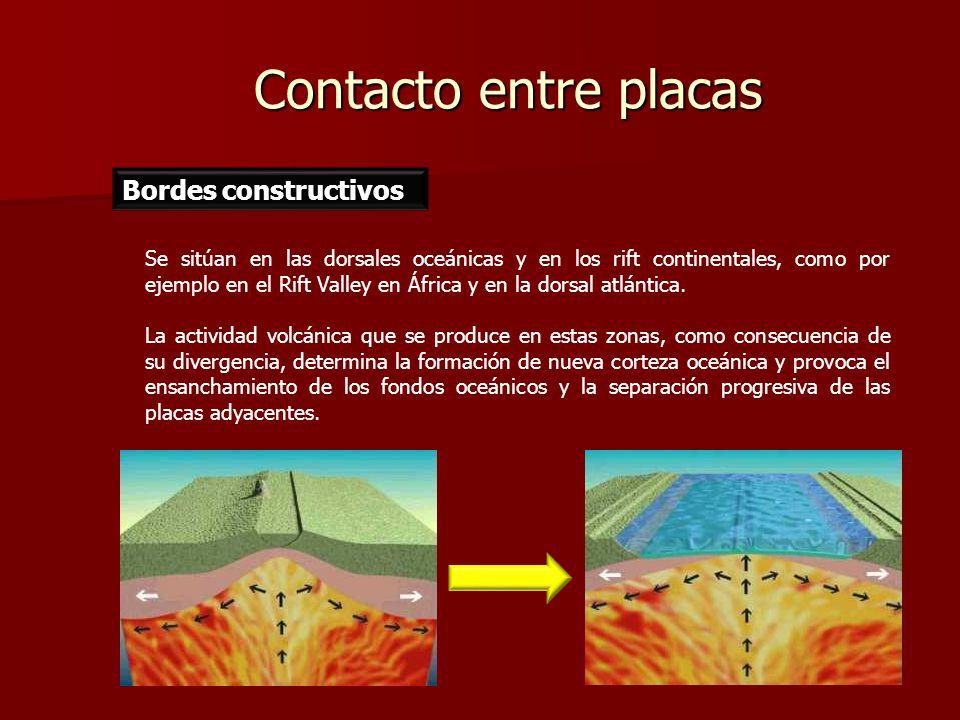 Contacto entre placas Se sitúan en las dorsales oceánicas y en los rift continentales, como por ejemplo en el Rift Valley en África y en la dorsal atl