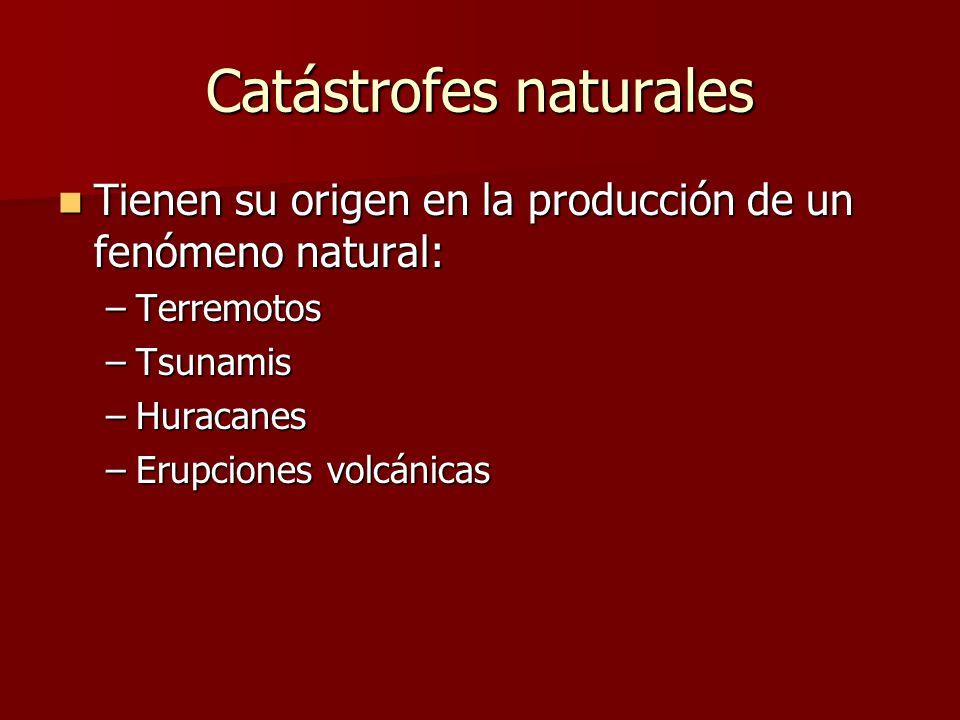 Catástrofes naturales Tienen su origen en la producción de un fenómeno natural: Tienen su origen en la producción de un fenómeno natural: –Terremotos