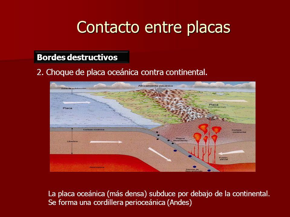 Contacto entre placas Bordes destructivos 2. Choque de placa oceánica contra continental. La placa oceánica (más densa) subduce por debajo de la conti