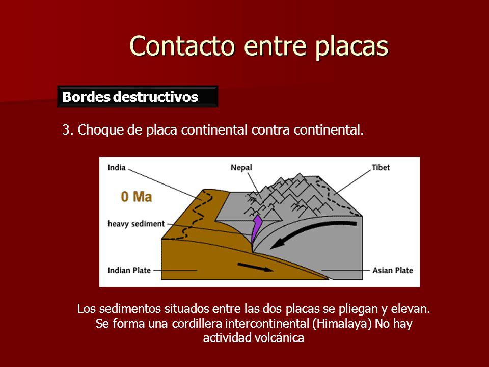Contacto entre placas Bordes destructivos 3. Choque de placa continental contra continental. Los sedimentos situados entre las dos placas se pliegan y