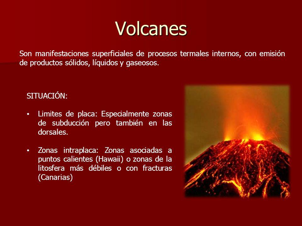 Volcanes Son manifestaciones superficiales de procesos termales internos, con emisión de productos sólidos, líquidos y gaseosos. SITUACIÓN: Limites de