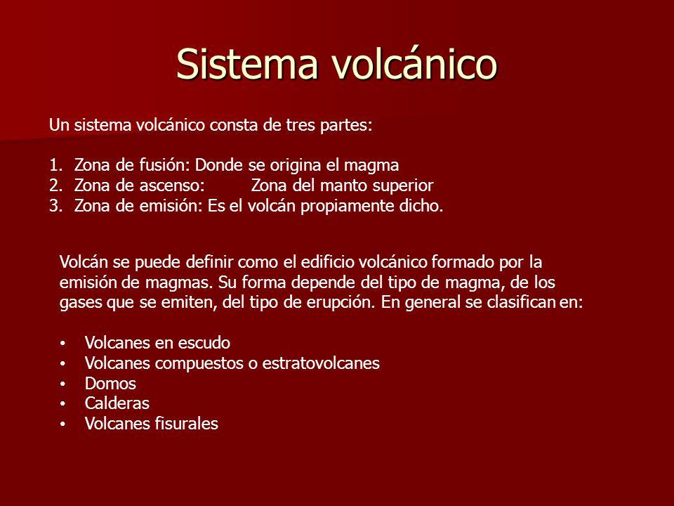Sistema volcánico Un sistema volcánico consta de tres partes: 1.Zona de fusión: Donde se origina el magma 2.Zona de ascenso:Zona del manto superior 3.