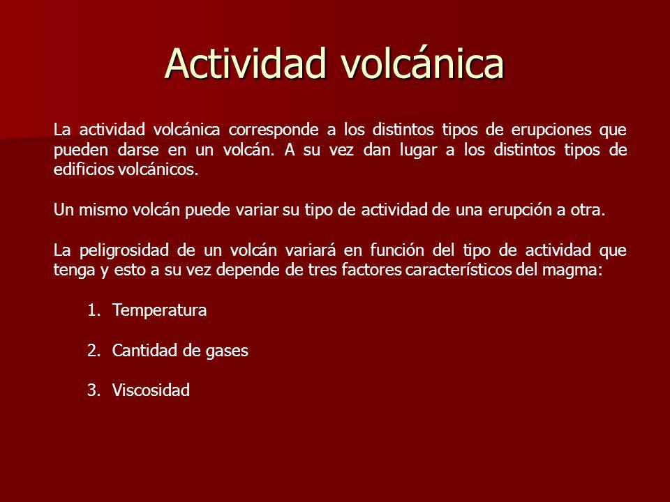 Actividad volcánica La actividad volcánica corresponde a los distintos tipos de erupciones que pueden darse en un volcán. A su vez dan lugar a los dis