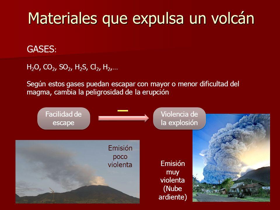 Materiales que expulsa un volcán GASES : H 2 O, CO 2, SO 2, H 2 S, Cl 2, H 2,… Según estos gases puedan escapar con mayor o menor dificultad del magma