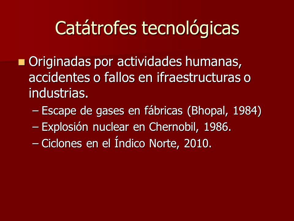 Catátrofes tecnológicas Originadas por actividades humanas, accidentes o fallos en ifraestructuras o industrias. Originadas por actividades humanas, a