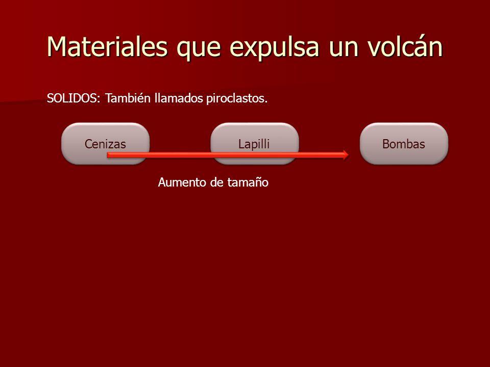 Materiales que expulsa un volcán SOLIDOS: También llamados piroclastos. Bombas Cenizas Lapilli Aumento de tamaño