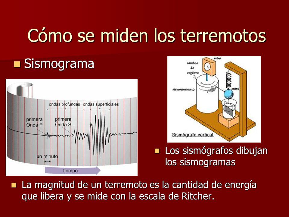 Cómo se miden los terremotos Sismograma Sismograma Los sismógrafos dibujan los sismogramas Los sismógrafos dibujan los sismogramas La magnitud de un t