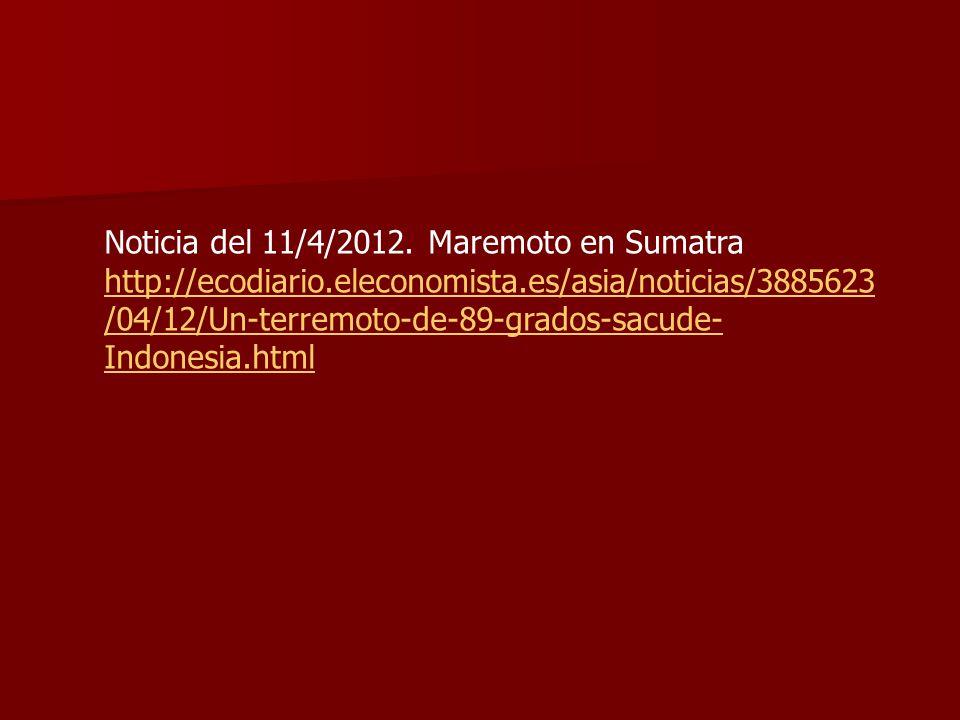 Noticia del 11/4/2012. Maremoto en Sumatra http://ecodiario.eleconomista.es/asia/noticias/3885623 /04/12/Un-terremoto-de-89-grados-sacude- Indonesia.h