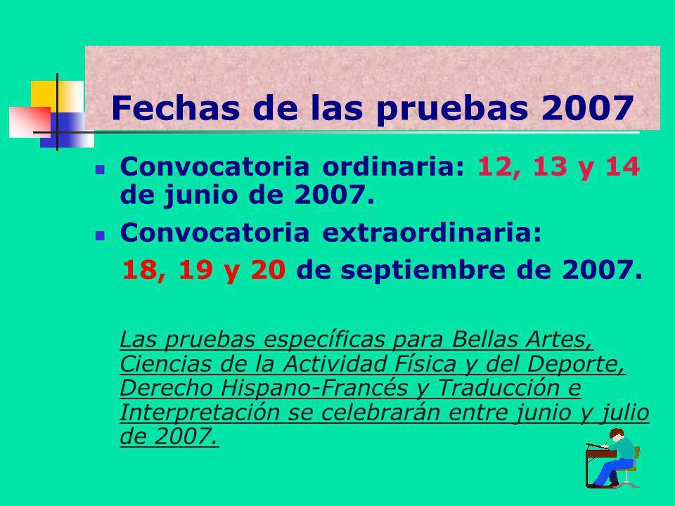 Fechas de las pruebas 2007 Convocatoria ordinaria: 12, 13 y 14 de junio de 2007. Convocatoria extraordinaria: 18, 19 y 20 de septiembre de 2007. Las p