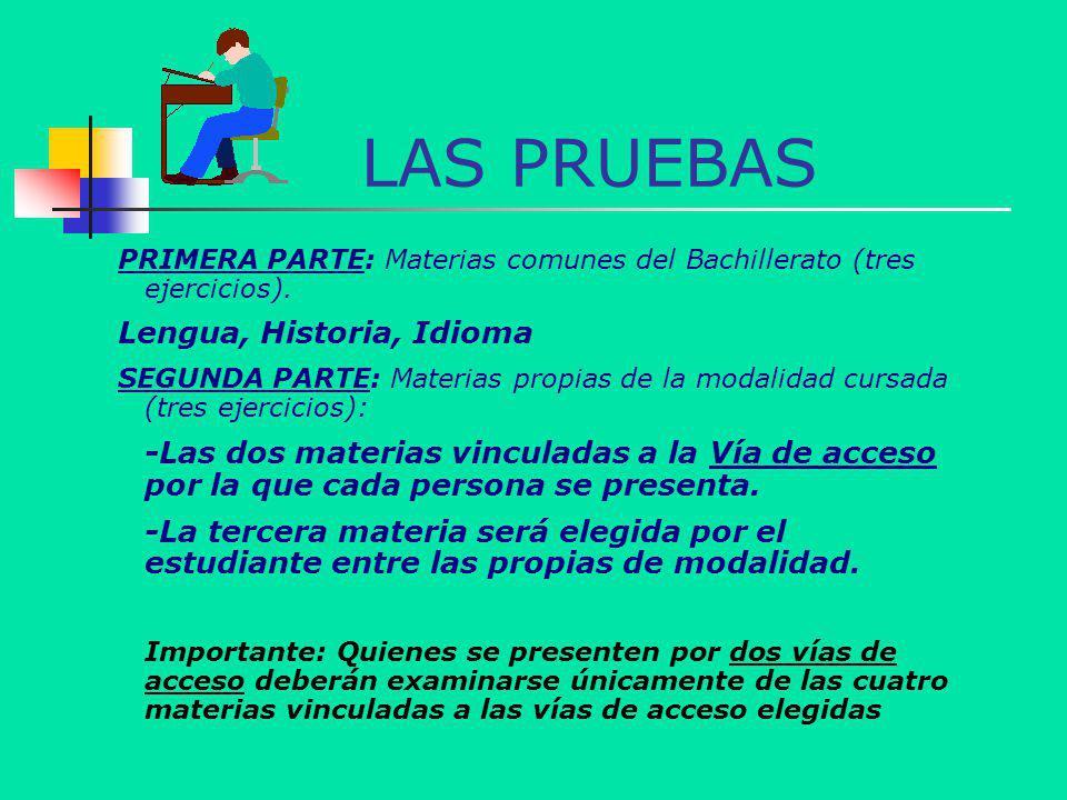LAS PRUEBAS PRIMERA PARTE: Materias comunes del Bachillerato (tres ejercicios). Lengua, Historia, Idioma SEGUNDA PARTE: Materias propias de la modalid