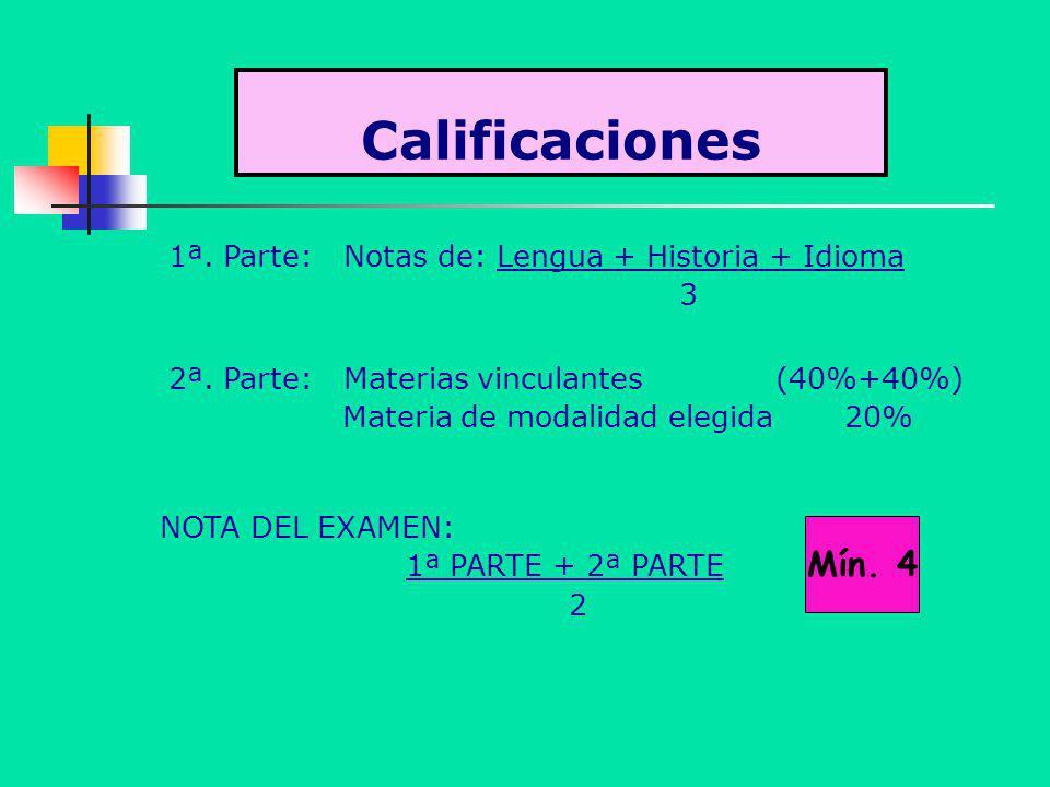 Calificaciones 1ª. Parte: Notas de: Lengua + Historia + Idioma 3 2ª. Parte: Materias vinculantes (40%+40%) Materia de modalidad elegida 20% NOTA DEL E