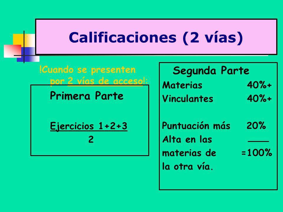 Calificaciones (2 vías) !Cuando se presenten por 2 vías de acceso!: Primera Parte Ejercicios 1+2+3 2 Segunda Parte Materias40%+ Vinculantes40%+ Puntua