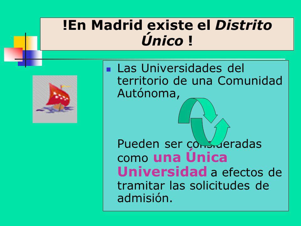 !En Madrid existe el Distrito Único ! Las Universidades del territorio de una Comunidad Autónoma, Pueden ser consideradas como una Única Universidad a