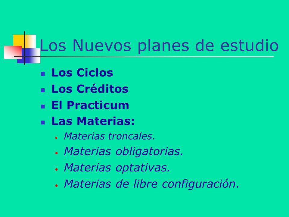 Los Nuevos planes de estudio Los Ciclos Los Créditos El Practicum Las Materias: Materias troncales. Materias obligatorias. Materias optativas. Materia