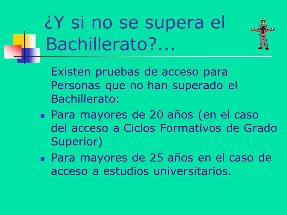 ¿Y si no se supera el Bachillerato?... Existen pruebas de acceso para Personas que no han superado el Bachillerato: Para mayores de 20 años (en el cas