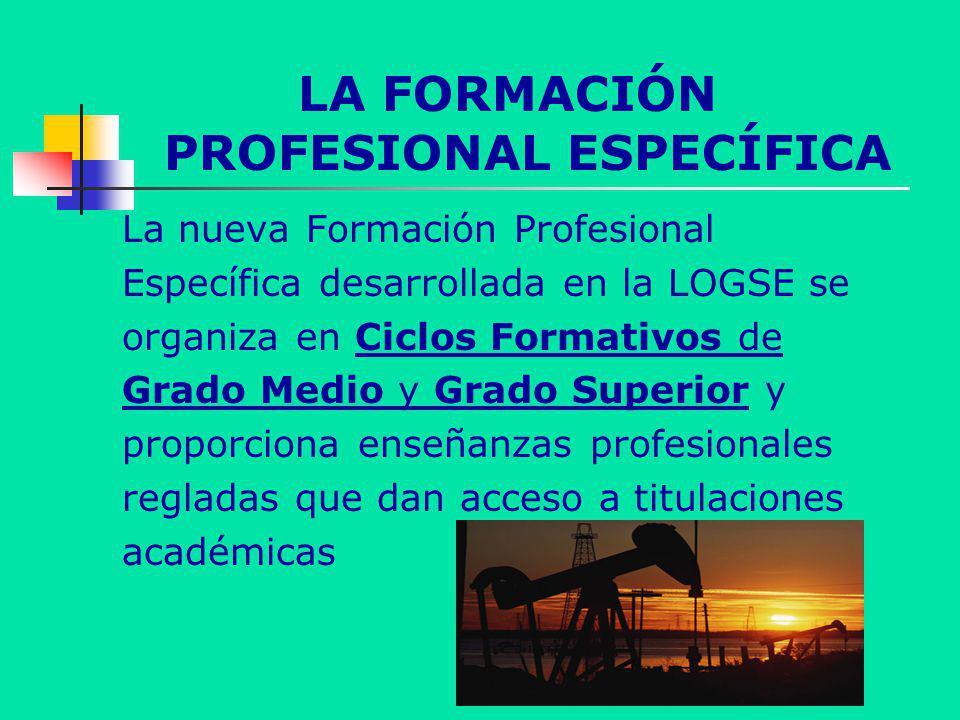 LA FORMACIÓN PROFESIONAL ESPECÍFICA La nueva Formación Profesional Específica desarrollada en la LOGSE se organiza en Ciclos Formativos de Grado Medio y Grado Superior y proporciona enseñanzas profesionales regladas que dan acceso a titulaciones académicas