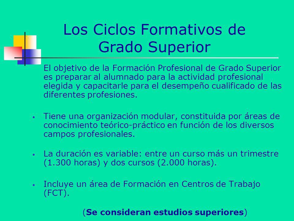 Los Ciclos Formativos de Grado Superior El objetivo de la Formación Profesional de Grado Superior es preparar al alumnado para la actividad profesiona