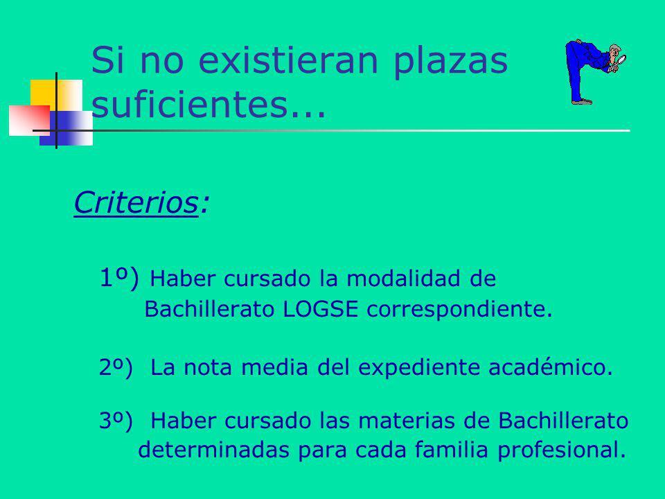 Si no existieran plazas suficientes... Criterios: 1º) Haber cursado la modalidad de Bachillerato LOGSE correspondiente. 2º) La nota media del expedien