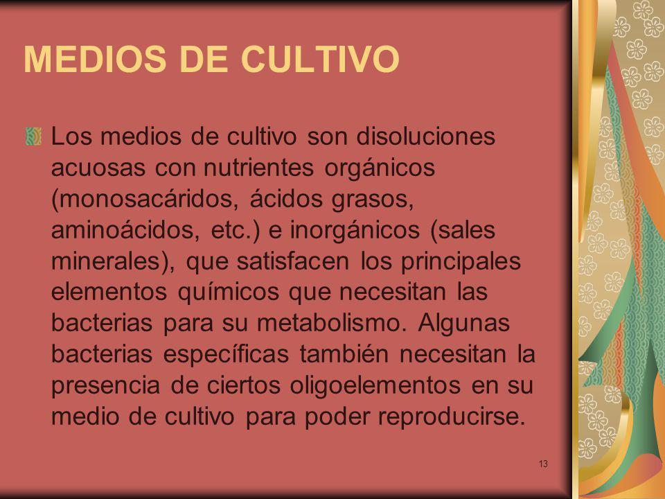 13 MEDIOS DE CULTIVO Los medios de cultivo son disoluciones acuosas con nutrientes orgánicos (monosacáridos, ácidos grasos, aminoácidos, etc.) e inorgánicos (sales minerales), que satisfacen los principales elementos químicos que necesitan las bacterias para su metabolismo.