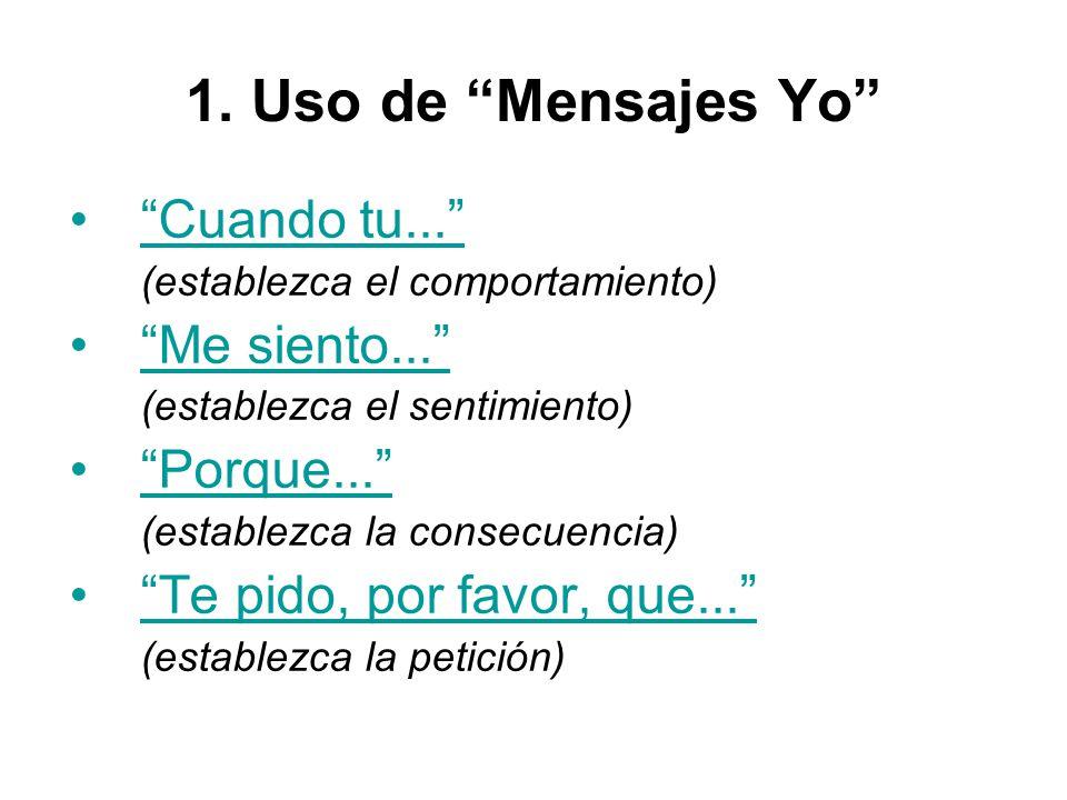 1.Uso de Mensajes Yo Cuando tu... (establezca el comportamiento) Me siento...