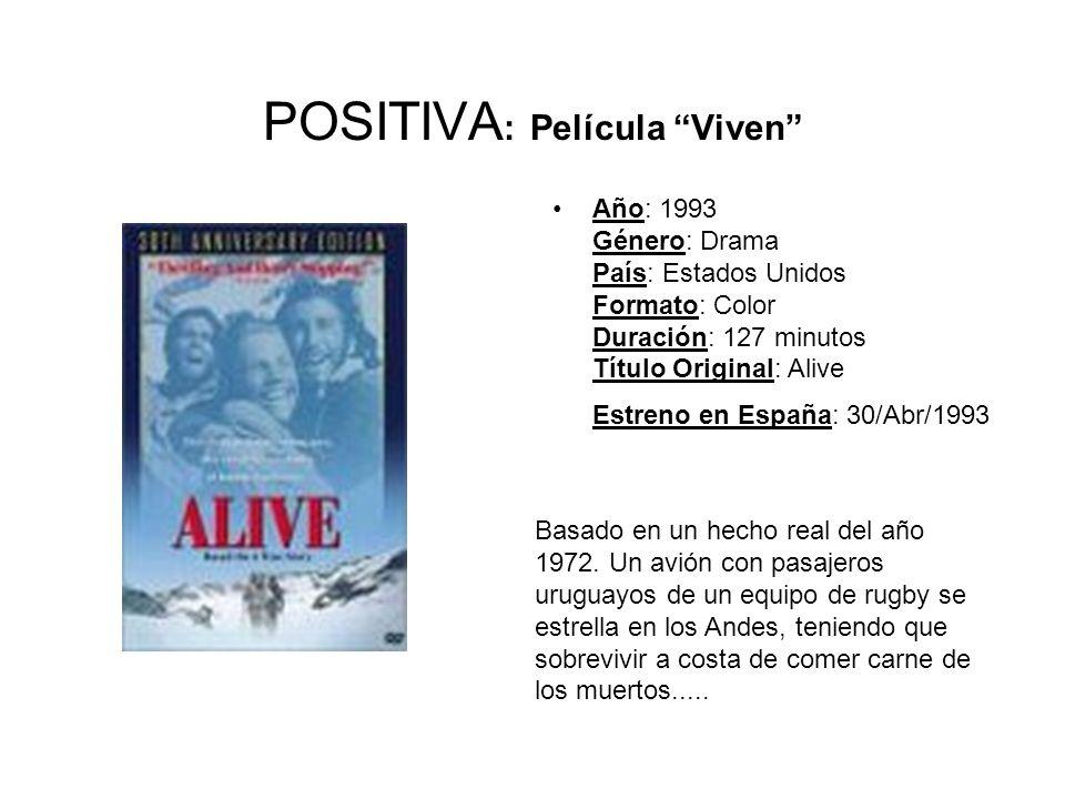 POSITIVA : Película Viven Año: 1993 Género: Drama País: Estados Unidos Formato: Color Duración: 127 minutos Título Original: Alive Estreno en España: 30/Abr/1993 Basado en un hecho real del año 1972.