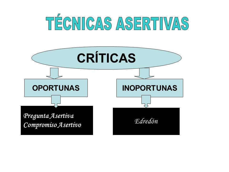 OPORTUNAS INOPORTUNAS Pregunta Asertiva Compromiso Asertivo CRÍTICAS Edredón