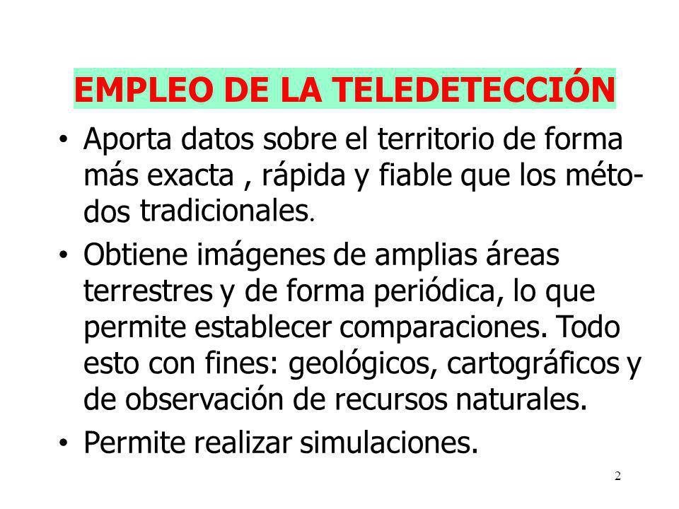 2 EMPLEO DE LA TELEDETECCIÓN Aporta datos sobre el territorio de forma más exacta, rápida y fiable que los méto- dos tradicionales. Obtiene imágenes d