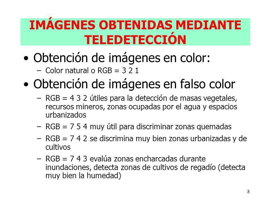 8 IMÁGENES OBTENIDAS MEDIANTE TELEDETECCIÓN Obtención de imágenes en color: –Color natural o RGB = 3 2 1 Obtención de imágenes en falso color –RGB = 4 3 2 útiles para la detección de masas vegetales, recursos mineros, zonas ocupadas por el agua y espacios urbanizados –RGB = 7 5 4 muy útil para discriminar zonas quemadas –RGB = 7 4 2 se discrimina muy bien zonas urbanizadas y de cultivos –RGB = 7 4 3 evalúa zonas encharcadas durante inundaciones, detecta zonas de cultivos de regadío (detecta muy bien la humedad)