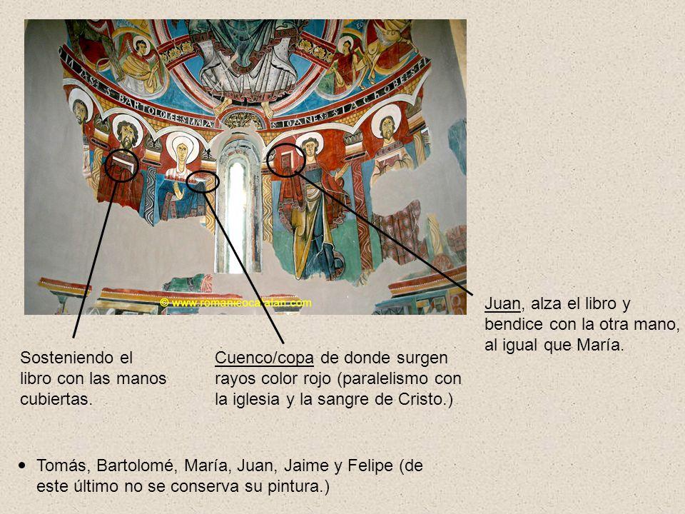 Tomás, Bartolomé, María, Juan, Jaime y Felipe (de este último no se conserva su pintura.) Cuenco/copa de donde surgen rayos color rojo (paralelismo co