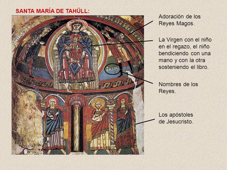La Virgen con el niño en el regazo, el niño bendiciendo con una mano y con la otra sosteniendo el libro. Adoración de los Reyes Magos. Nombres de los