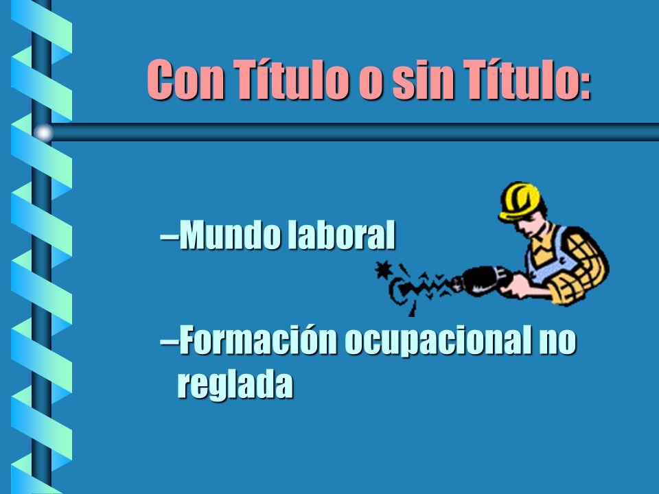 Con Título o sin Título: –Mundo laboral –Formación ocupacional no reglada