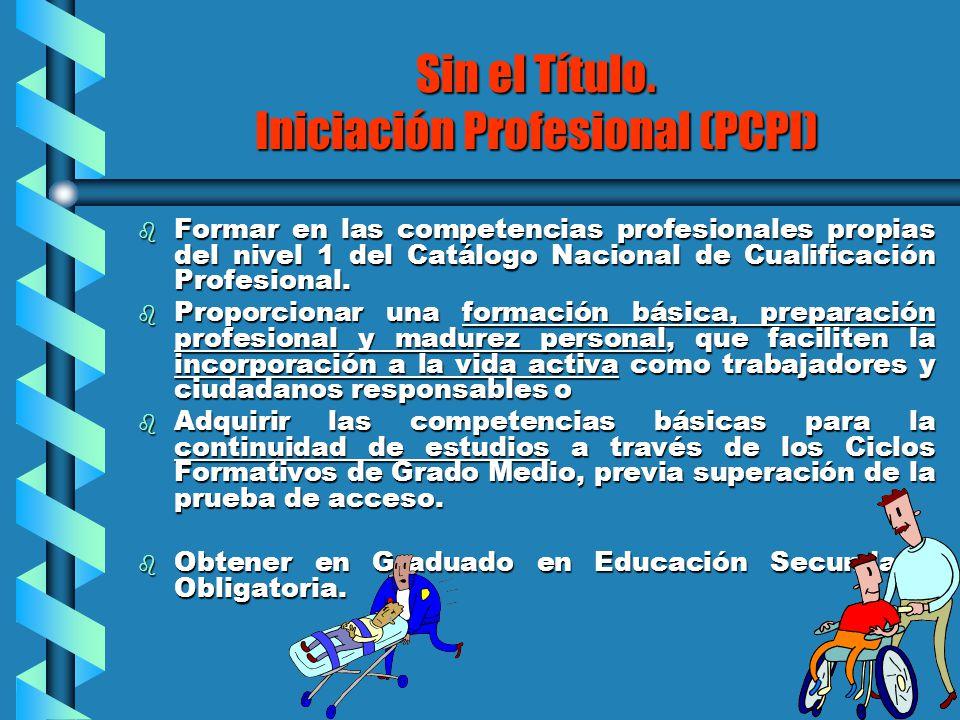 Sin el Título. Iniciación Profesional (PCPI) b Formar en las competencias profesionales propias del nivel 1 del Catálogo Nacional de Cualificación Pro