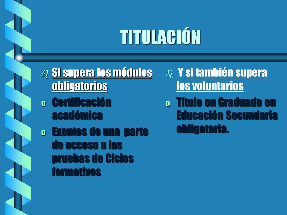 TITULACIÓN b SI supera los módulos obligatorios o Certificación académica o Exentos de una parte de acceso a las pruebas de Ciclos formativos b Y si t