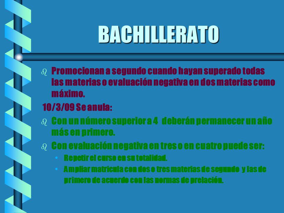 BACHILLERATO b b Promocionan a segundo cuando hayan superado todas las materias o evaluación negativa en dos materias como máximo. 10/3/09 Se anula: b