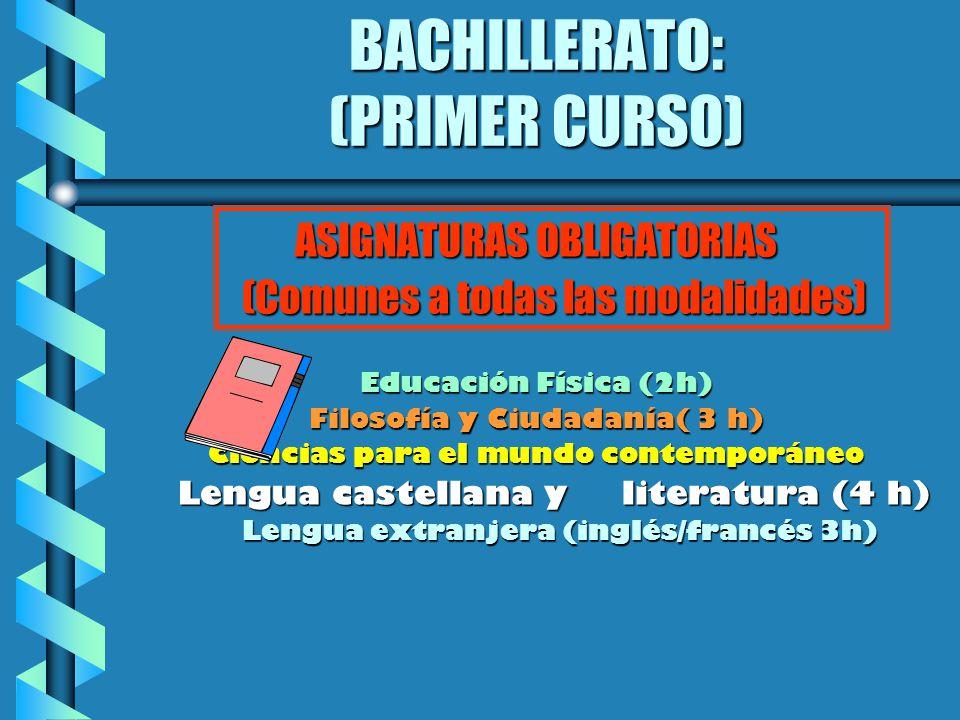 BACHILLERATO: (PRIMER CURSO) ASIGNATURAS OBLIGATORIAS (Comunes a todas las modalidades) Educación Física (2h) Filosofía y Ciudadanía( 3 h) Ciencias pa