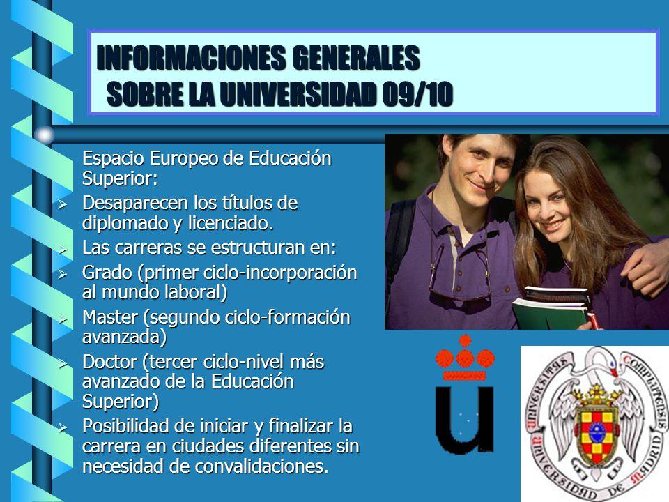 INFORMACIONES GENERALES SOBRE LA UNIVERSIDAD 09/10 Espacio Europeo de Educación Superior: Desaparecen los títulos de diplomado y licenciado. Desaparec