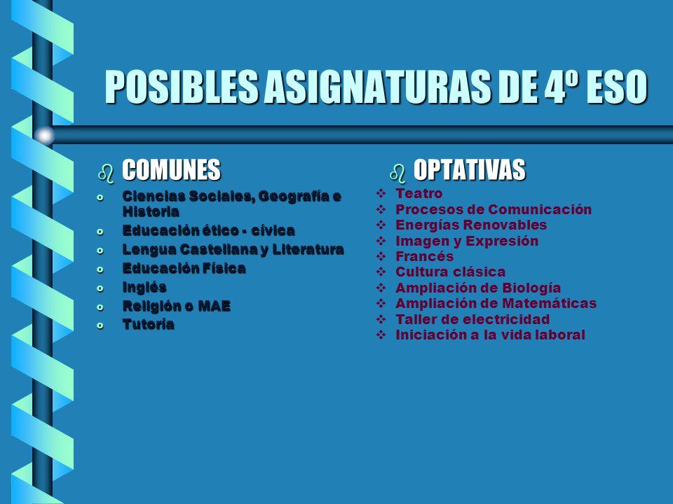 POSIBLES ASIGNATURAS DE 4º ESO b COMUNES o Ciencias Sociales, Geografía e Historia o Educación ético - cívica o Lengua Castellana y Literatura o Educa
