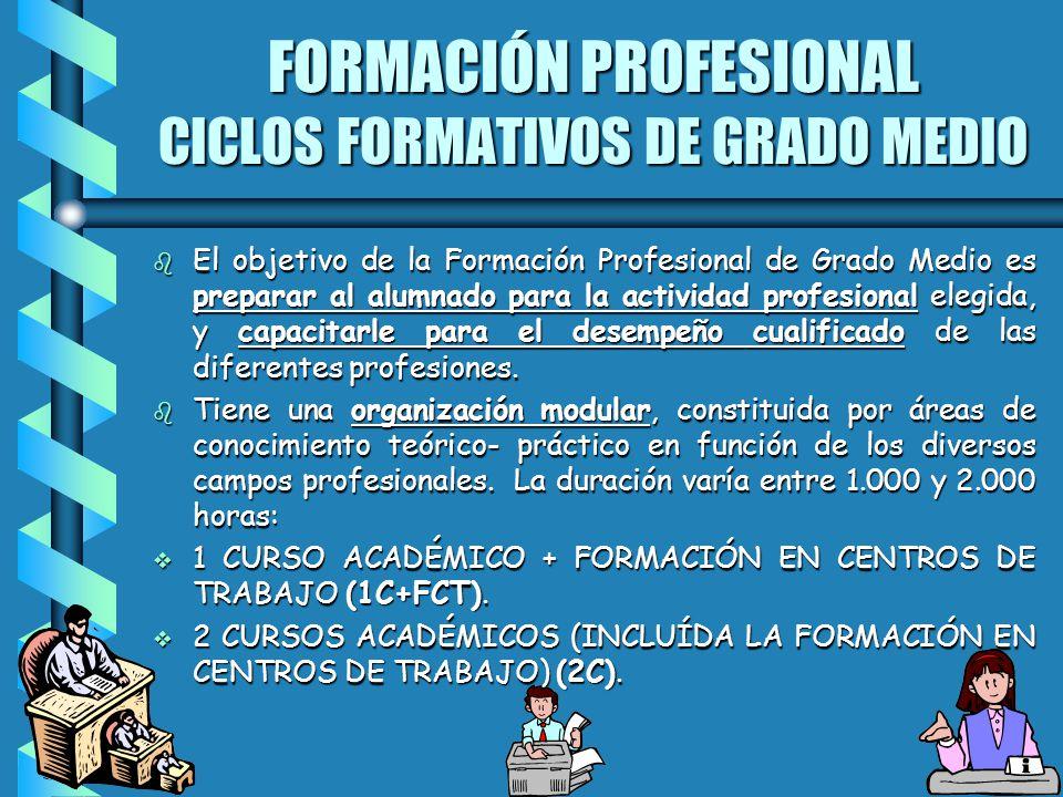 FORMACIÓN PROFESIONAL CICLOS FORMATIVOS DE GRADO MEDIO b El objetivo de la Formación Profesional de Grado Medio es preparar al alumnado para la activi