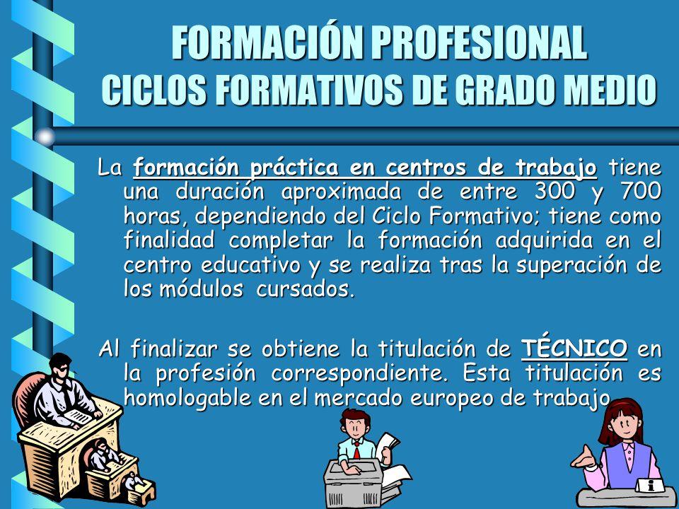 FORMACIÓN PROFESIONAL CICLOS FORMATIVOS DE GRADO MEDIO La formación práctica en centros de trabajo tiene una duración aproximada de entre 300 y 700 ho