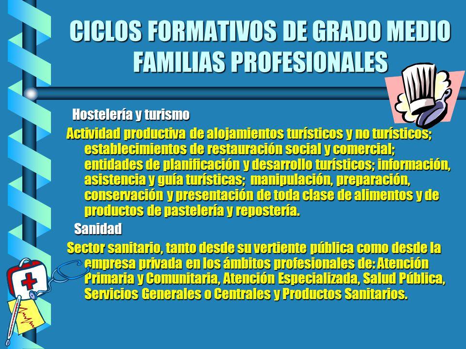 CICLOS FORMATIVOS DE GRADO MEDIO FAMILIAS PROFESIONALES Hostelería y turismo Hostelería y turismo Actividad productiva de alojamientos turísticos y no