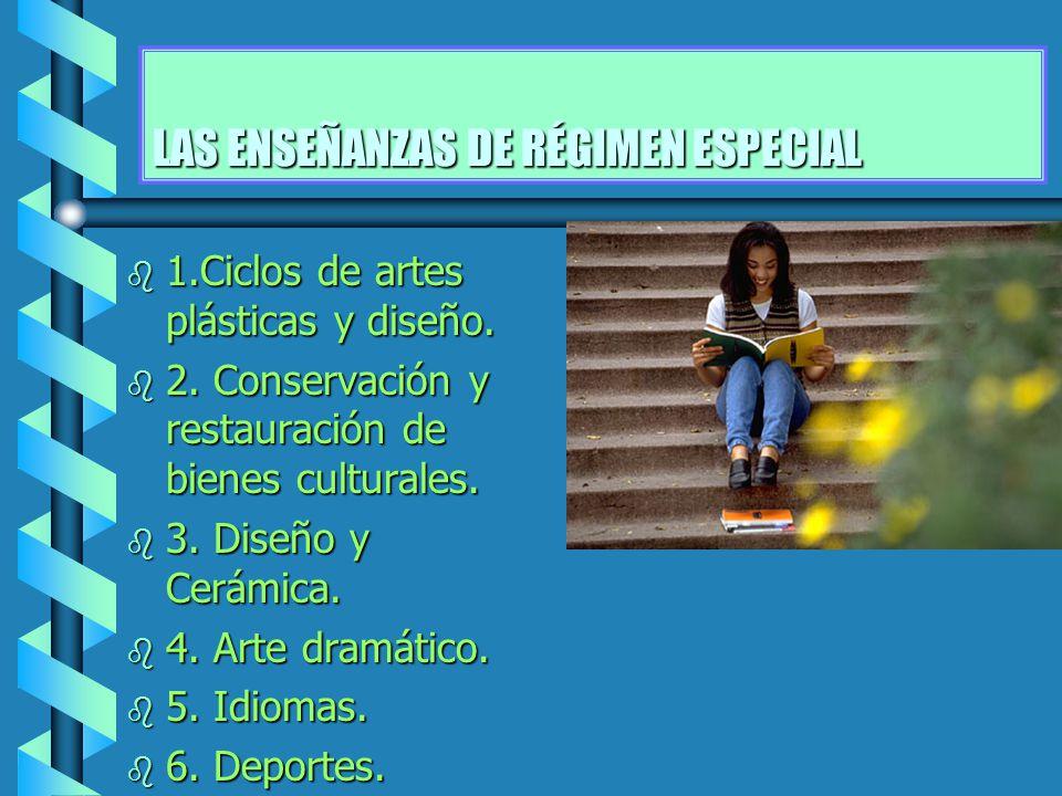 LAS ENSEÑANZAS DE RÉGIMEN ESPECIAL b 1.Ciclos de artes plásticas y diseño. b 2. Conservación y restauración de bienes culturales. b 3. Diseño y Cerámi