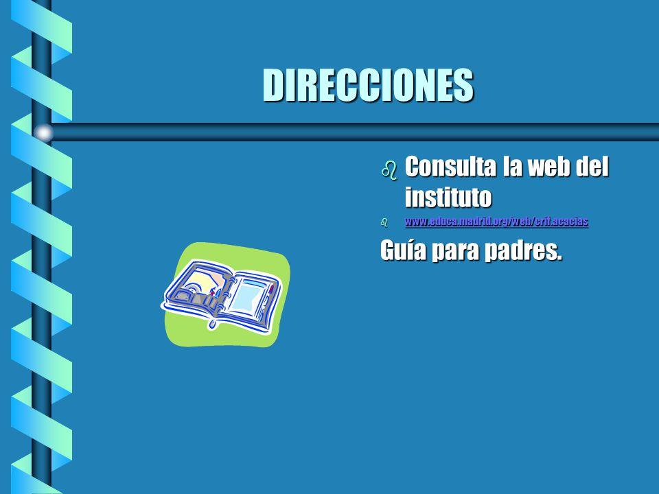 DIRECCIONES b Consulta la web del instituto b www.educa.madrid.org/web/crif.acacias www.educa.madrid.org/web/crif.acacias Guía para padres.